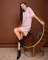 Повседневно платье футболка из трикотажа люрекс, свободный крой, рукав по локоть (42-48)