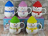 Новогодняя чашка с крышкой Снеговик розовый 300 мл, фото 2