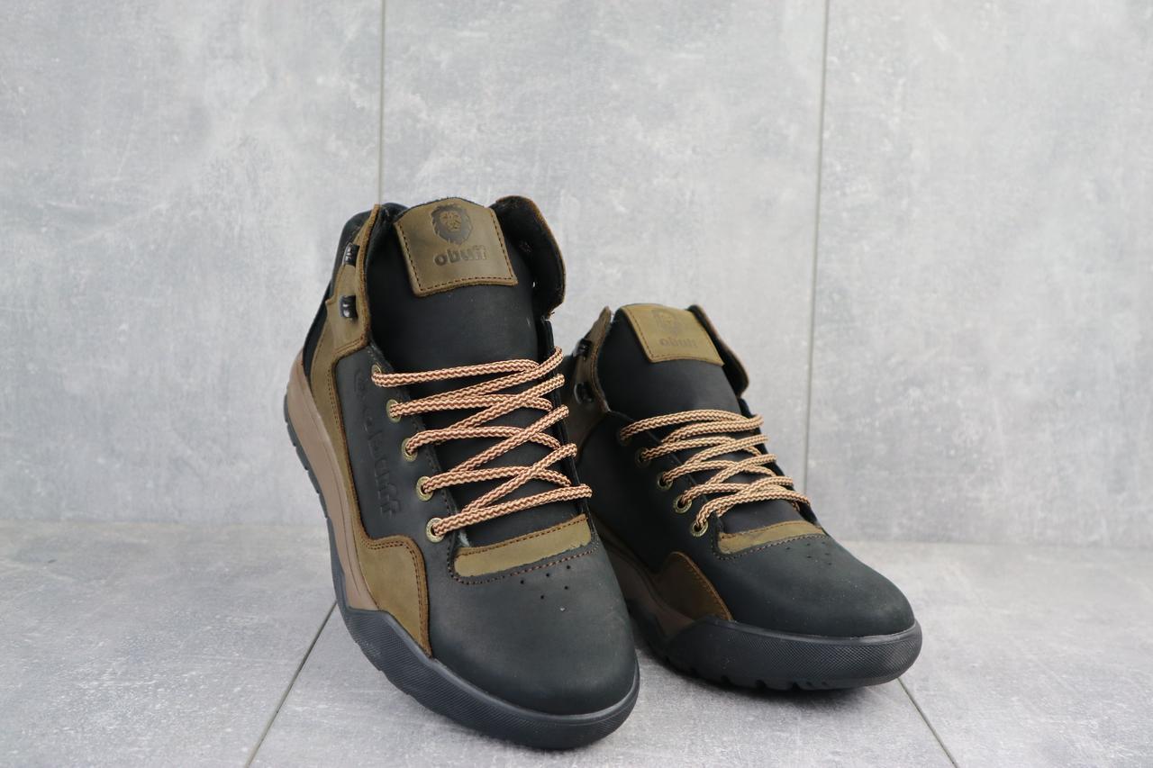 Мужские кроссовки кожаные зимние черные-оливковые CrosSAV 318