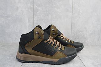 Мужские кроссовки кожаные зимние черные-оливковые CrosSAV 318, фото 3