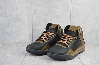 Мужские кроссовки кожаные зимние черные-оливковые CrosSAV 318, фото 2