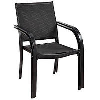Стулья садовые Miami Stacking Patio Chairs in Charcoat - Pack of 2 Rollover image to zo., фото 1
