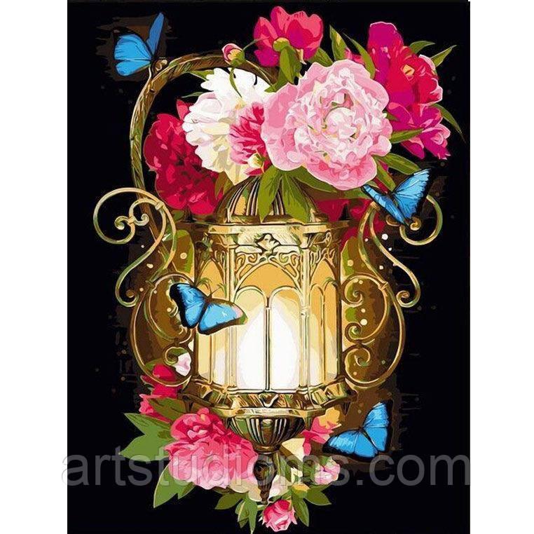 Картина по номерам цветы. Фонарь и голубые мотыльки 30 х 40 см (с коробкой)