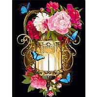 Картина по номерам цветы. Фонарь и голубые мотыльки 30 х 40 см (с коробкой), фото 1