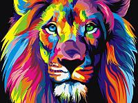 Картина по номерам животные. Радужный лев 50 х 65 см (с коробкой)
