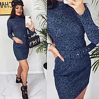 Платье женское теплое с поясом синее (мод. 281), фото 1