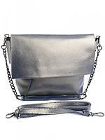 Cумка женская кожаная серая M-8322 Silver Gray