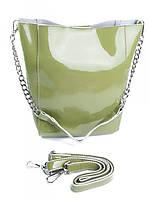 Cумка женская кожаная зеленая 8726-3 L.Green