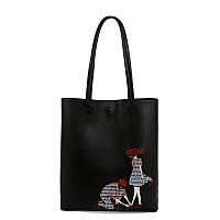 Женская сумка Kronos Top Шоппер с вышивкой Черная stet948, КОД: 361017