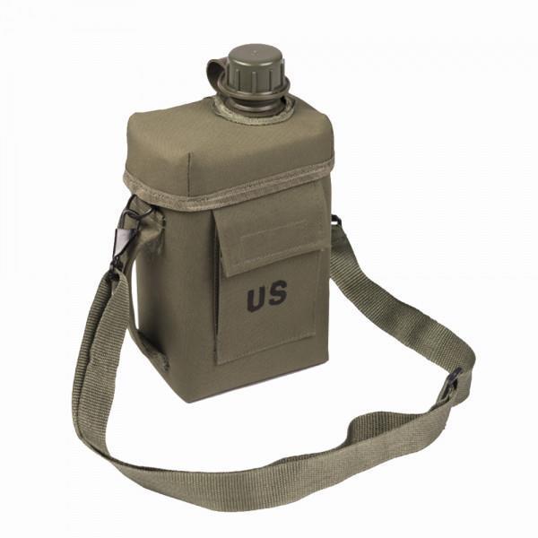 """Армейская фляга с чехлом и ремнем """"Patrol"""" USA Mil-tec (2 L) Olive (14514001)"""
