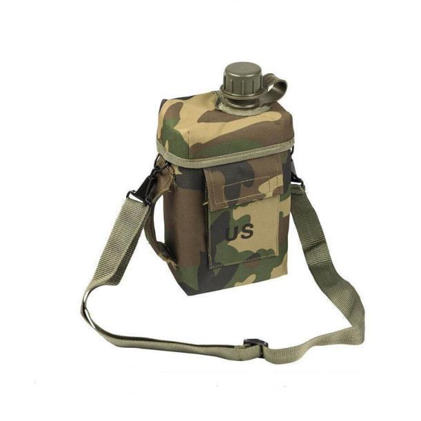 """Армейская фляга с чехлом и ремнем """"Patrol"""" USA Mil-tec (2 L) Woodland  (14514020)"""