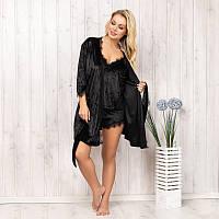 Халат женский велюровый черный New Fashion VL-150black