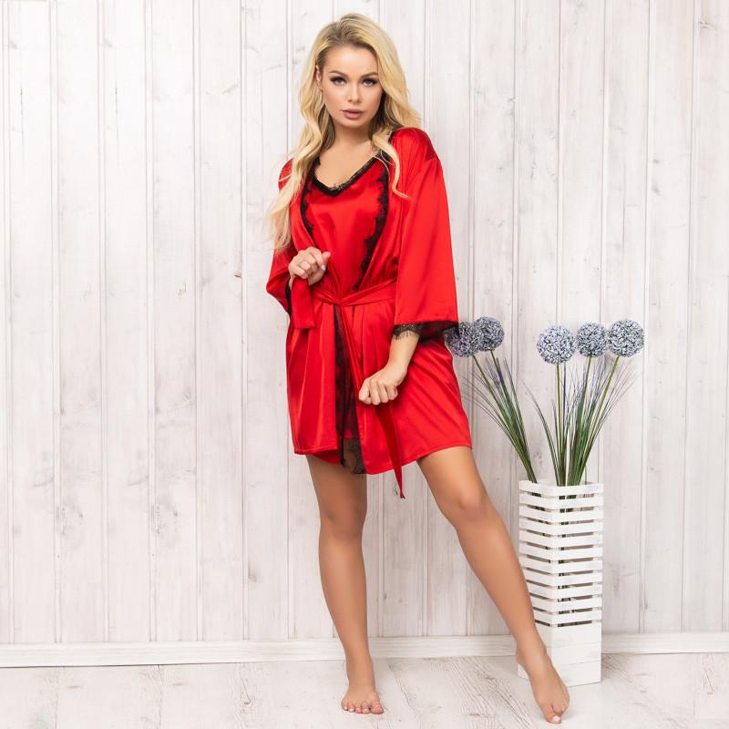 Халат женский шелковый красный New Fashion SA-150red