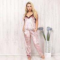 Пижама женская велюровая комплект с кружевом: майка и штаны New Fashion VL-130pudra | 1 шт.