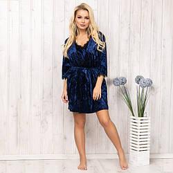 Халат женский велюровый New Fashion VL-150d.blue | 1 шт.