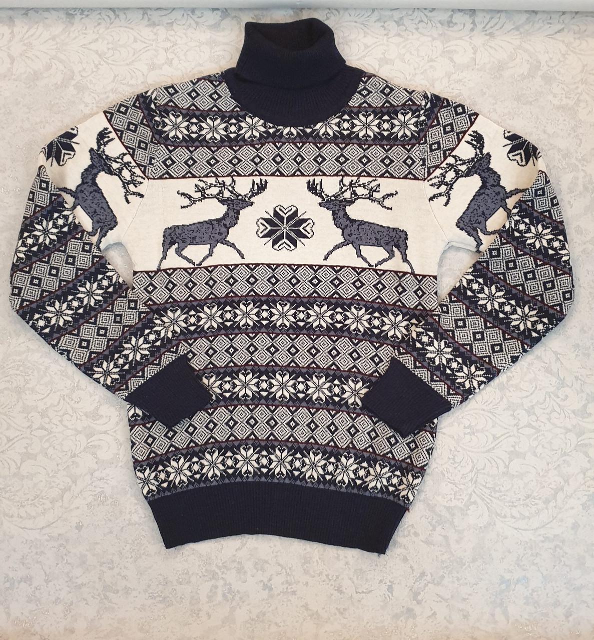 Молодёжный вязаный свитер с оленями размеры M,L,XL,XXL