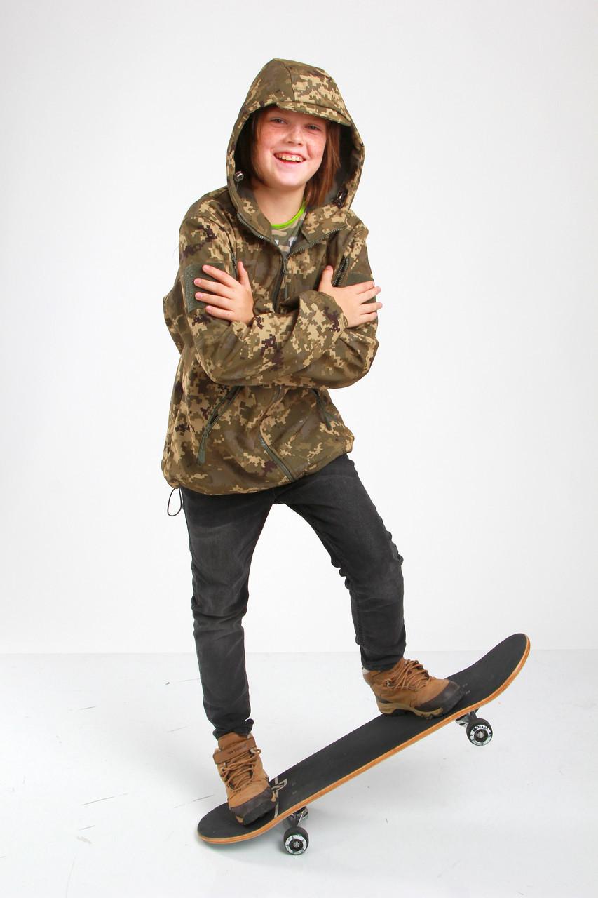 Куртка детская камуфляж OUTDOOR Вулкан Soft-Shell на флисе цвет Пиксель