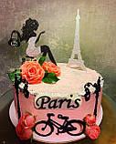 Топпери Франція, Топпер дівчина з ейфелевою вежею, ейфелева вежа на торт, топпер велосипед,Топпер Paris, фото 7