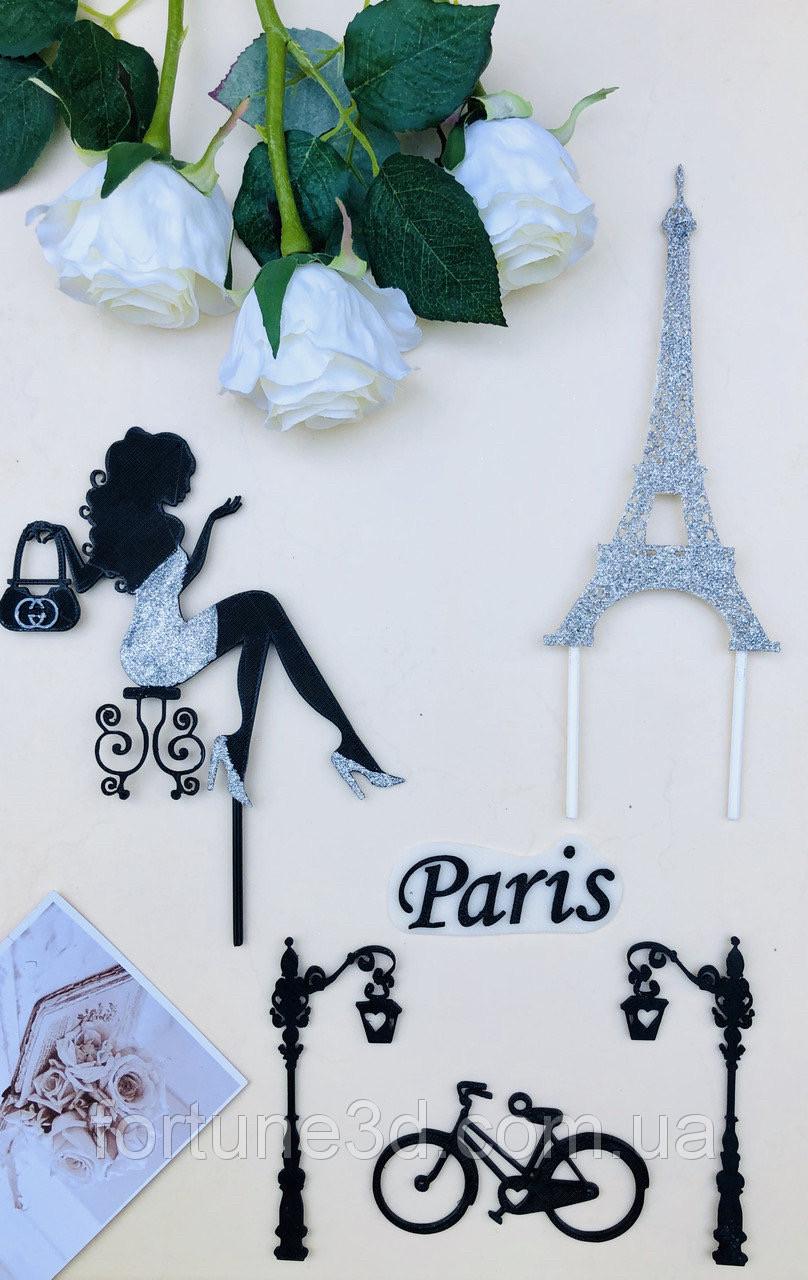 Топпери Франція, Топпер дівчина з ейфелевою вежею, ейфелева вежа на торт, топпер велосипед,Топпер Paris