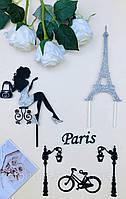 Топперы Франция, Топпер девушка с эйфелевой башней, эйфелевая башня на торт, топпер велосипед,Топпер Paris