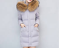 Женский зимний пуховик стеганый с капюшоном и меховой отделкой, серый, размер XS