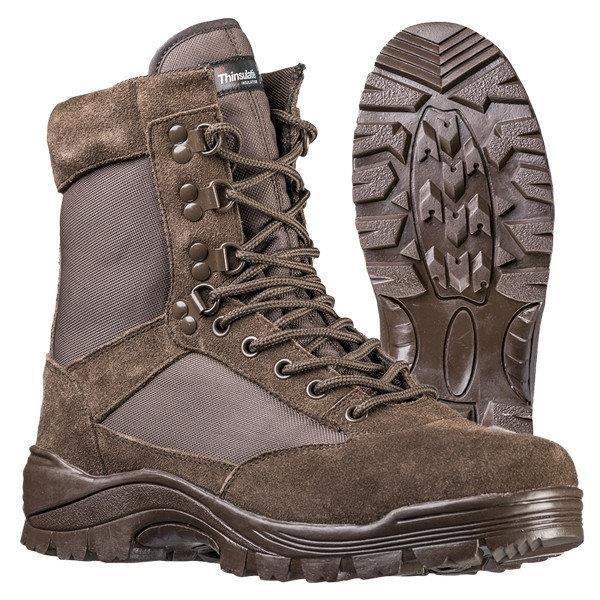Ботинки MIL-TEC TACTICAL SIDE ZIP BOOTS BROWN, молния YKK (12822109) размеры: 42-46