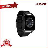 Умные часы х7 черные. Smart watch black. Железный ремешок