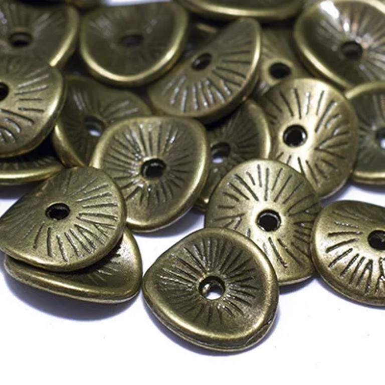 Бусина металлическая шайба Волна бронза 9,5х8,5х1 мм