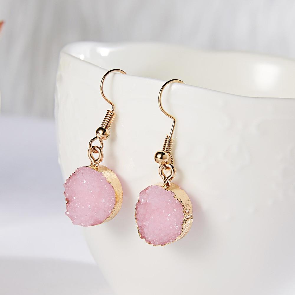 """Серьги """"Под камень"""" /бижутерия/ цвет золото, розовый"""