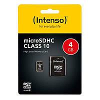 Карта памяти INTENSO microSDHC 4 Gb Class 10 + SD адаптер (3413450), фото 1
