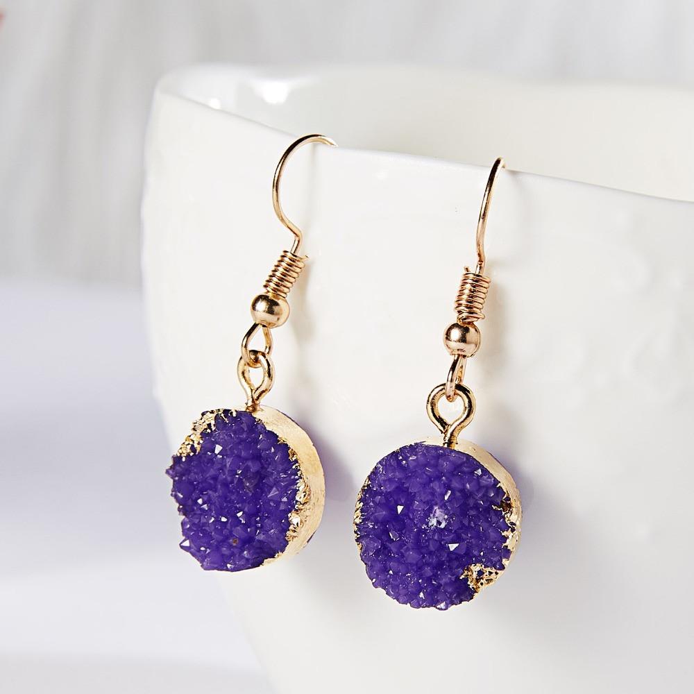 """Серьги """"Под камень"""" /бижутерия/ цвет золото, фиолетовый"""
