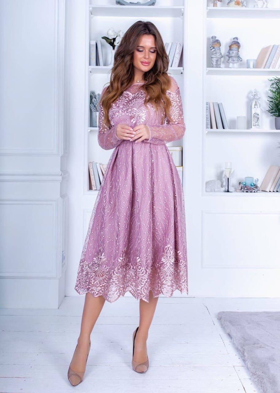 Платье миди кружево в расцветках 74207