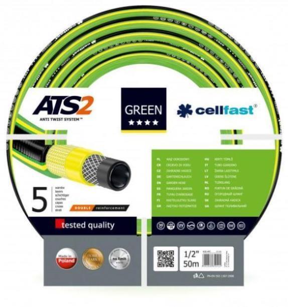 Шланг садовый Cellfast Green ATS2 для полива диаметр 1/2 дюйма, длина 50 м (GR 1/2 50), Польша