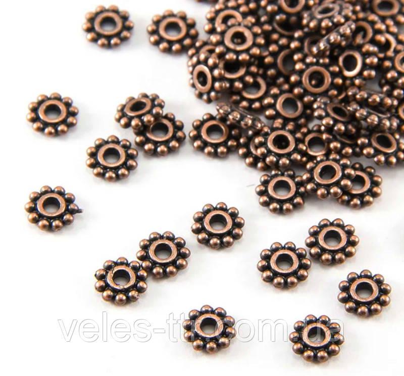 Бусина разделитель металлическая Звездочка медь 6,5 мм
