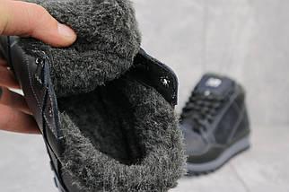 Мужские кроссовки кожаные зимние черные-синие Anser 100, фото 3