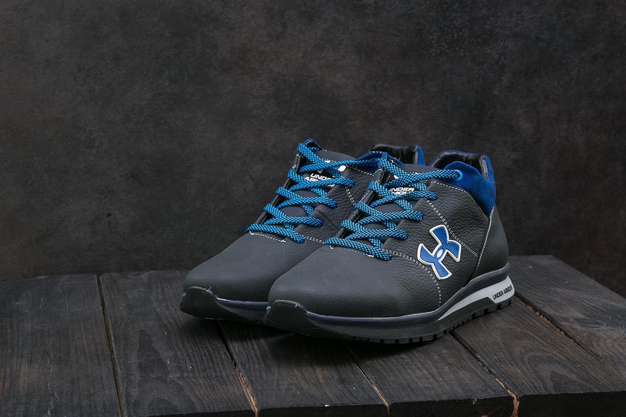 Мужские кроссовки кожаные зимние синие-голубые CrosSAV 121