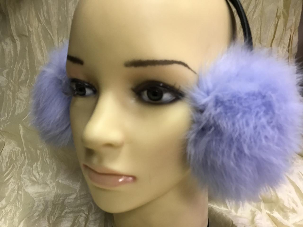 Голубые наушники из меха кролика