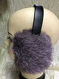 Голубые наушники из меха кролика, фото 4