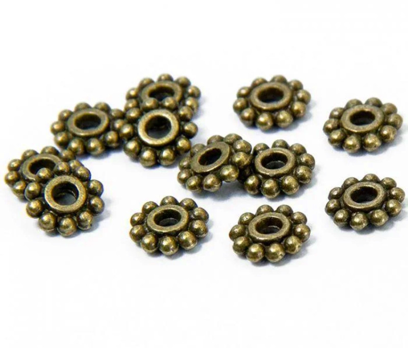 Бусина разделитель металлическая Звездочка бронза 6,5 мм