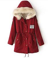 Куртка парка женская (бордовая)