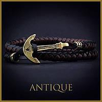 Кожаный браслет с Якорем ANTIQUE Black Island Чёрный с коричневым mt1105, КОД: 215771