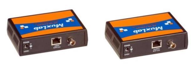 Комплект MuxLab 500700 для передачи 3G/HD-SDI сигнала по кабелю Cat5e/6, 100м