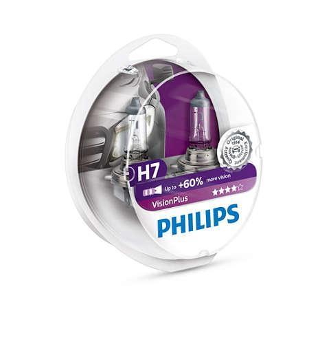 Комплект автоламп PHILIPS 12972VPS2 H7 55W 12V 60% PX26d VisionPlus, 2шт., Польша