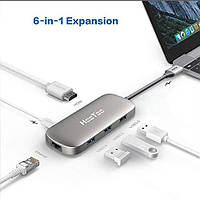 Адаптер HooToo 6-в-1 USB-C to USB-C+HDMI+3xUSB 3.0+LAN 1Gb Hub  (HT-UC007)