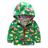 Детская куртка для девочки демисезонная короткая с принтом Птички Meanbear