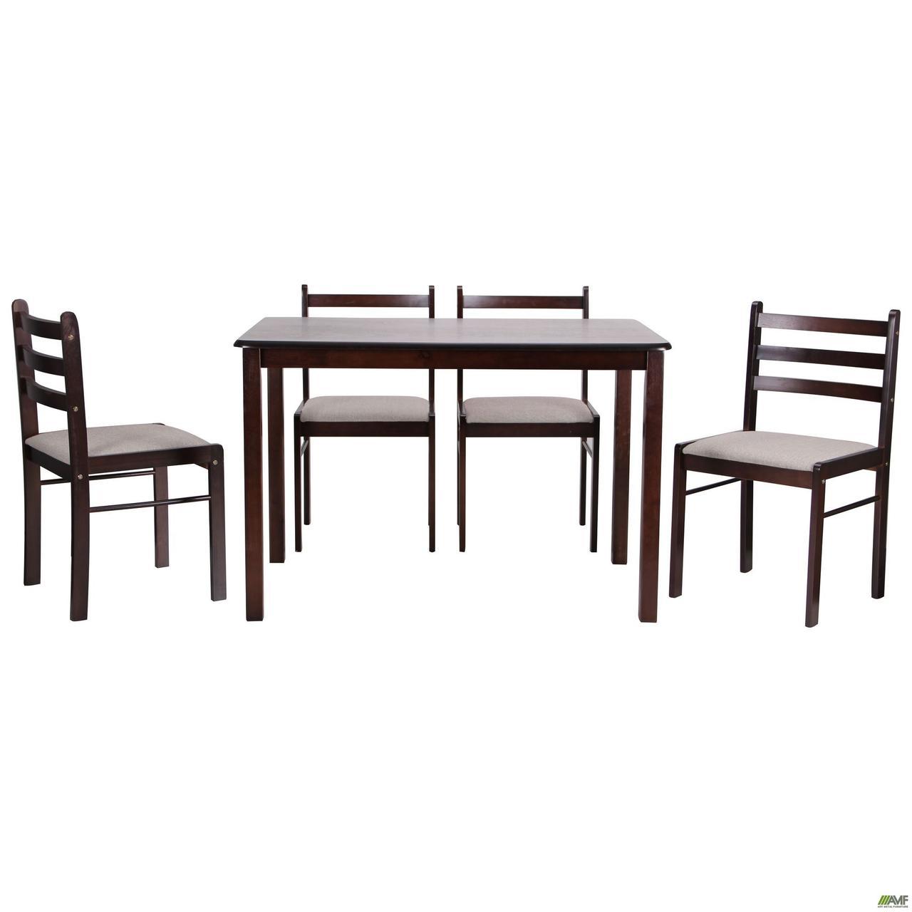 Обеденная группа Брауни темный шоколад латте, стол и 4 стула