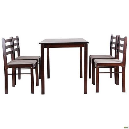 Обеденная группа Брауни темный шоколад латте, стол и 4 стула, фото 2