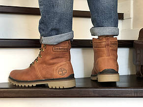 Мужские зимние кожаные ботинки Timberland,Тимберленд,на меху,рыжие, фото 3