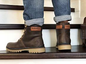 Мужские зимние кожаные ботинки Timberland,Тимберленд,на меху,темно коричневые, фото 2