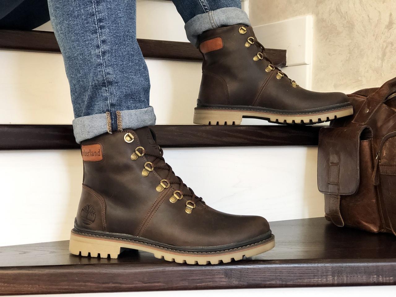 Мужские зимние кожаные ботинки Timberland,Тимберленд,на меху,темно коричневые